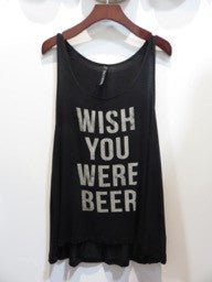 Black Graphic Tank 'Wish You Were Beer'