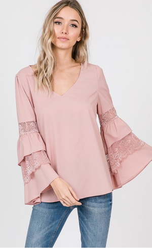 Woven Layered Bell Sleeve Top