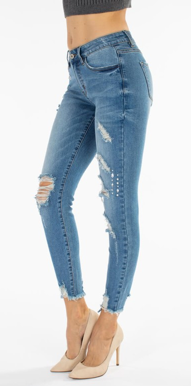 Gemmed Mid Rise Distressed Denim