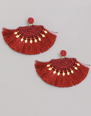 Half Circle Beaded Tassel Fringe Earrings