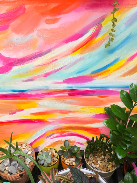 Abstract Canvas Art - Colorful Sunset Painting
