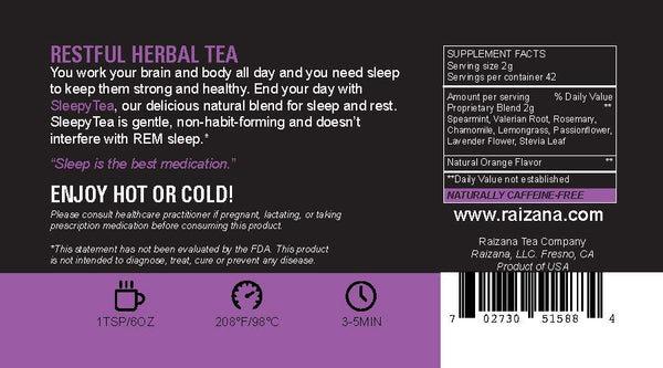 SLEEPYTEA: Passionflower + Valerian + Lavender + Orange (Herbal Tea) - Raizana Tea Co - 4