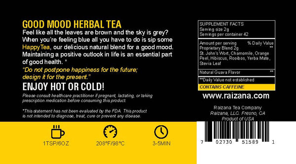 HAPPYTEA: St. John's Wort + Yerba Mate + Hibiscus (Herbal Tea) - Raizana Tea Co - 3