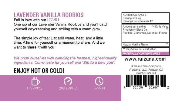 LAVENDER VANILLA Rooibos Herbal Tea - Raizana Tea Co - 5