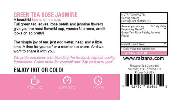 ROSE JASMINE Green Tea - Raizana Tea Co - 4