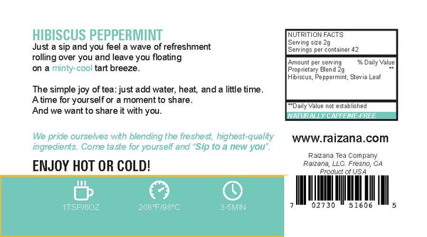 HIBISCUS Peppermint Herbal Tea - Raizana Tea Co - 3