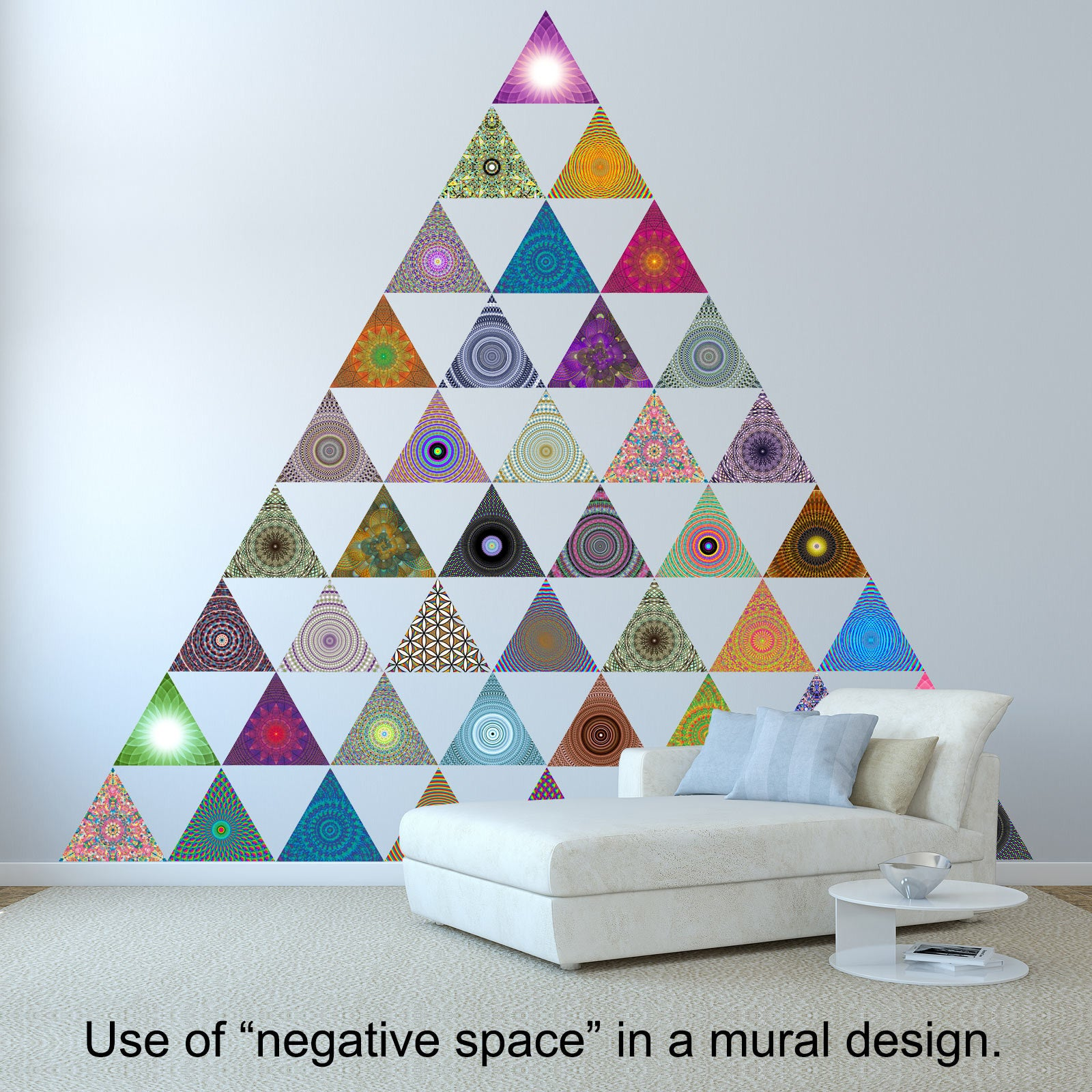 Triangle wall stickers tagged triangle conspicuous design large triangle wall mural modular wall stickers interactive art triangle decals example modern interior living room amipublicfo Gallery