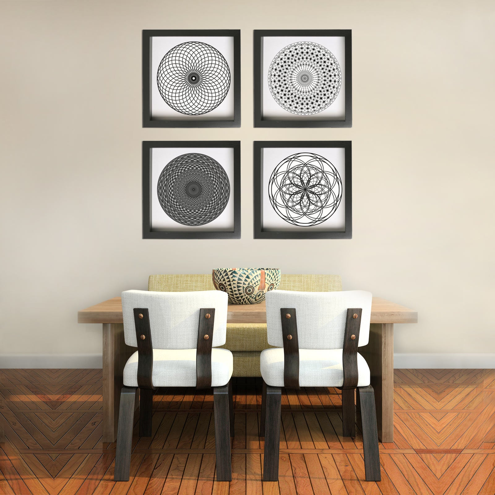 Four Piece Framed Art Print Set With Geometric Designs In Dining Room ... Part 75