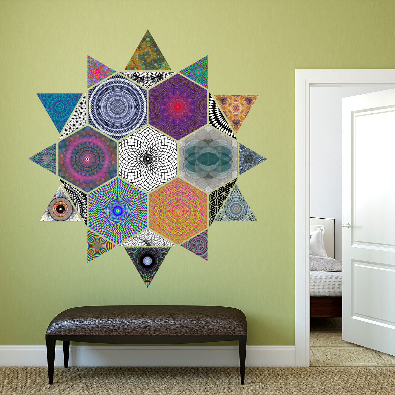 Hyperspace Glyph Geometric Fabric Wall Sticker (Triangle ...