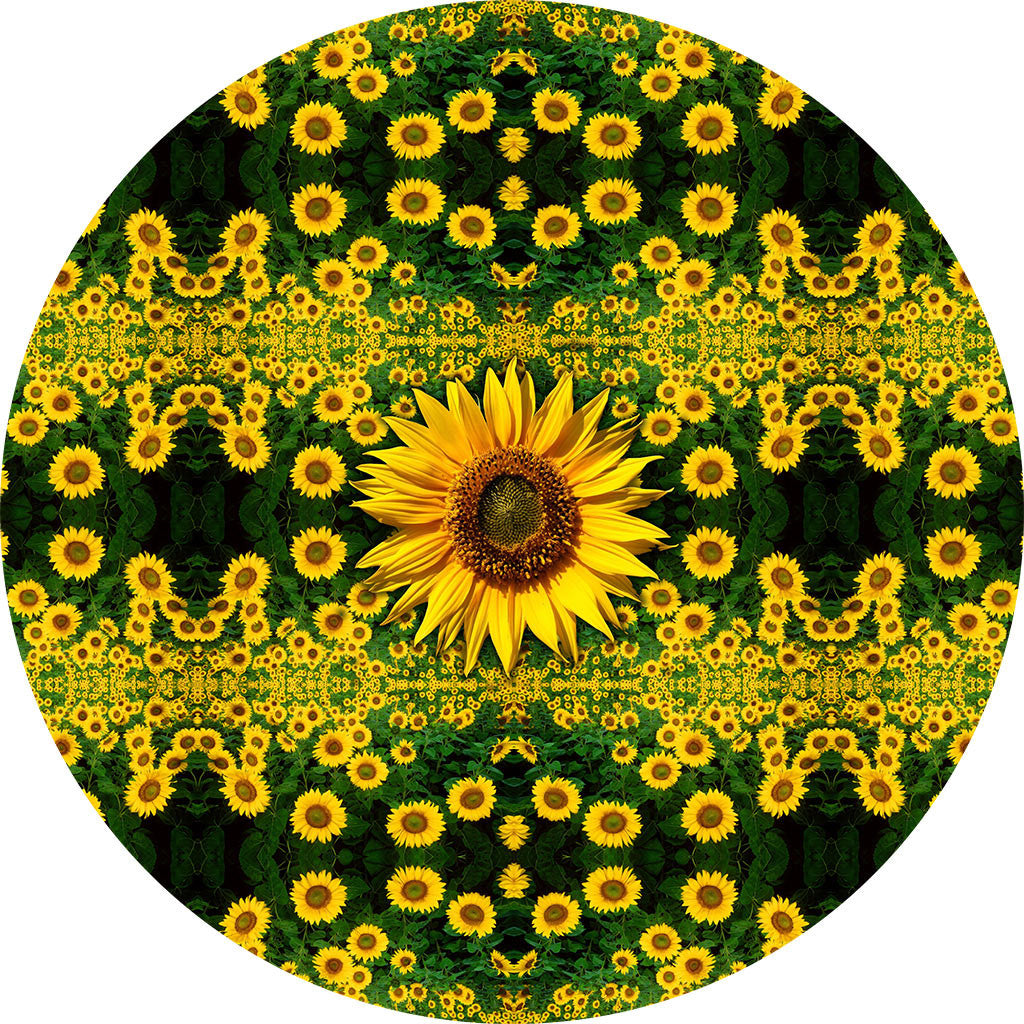 0fff661a4 Sunflower Field Nature Themed Fabric Wall Sticker (Circle ...