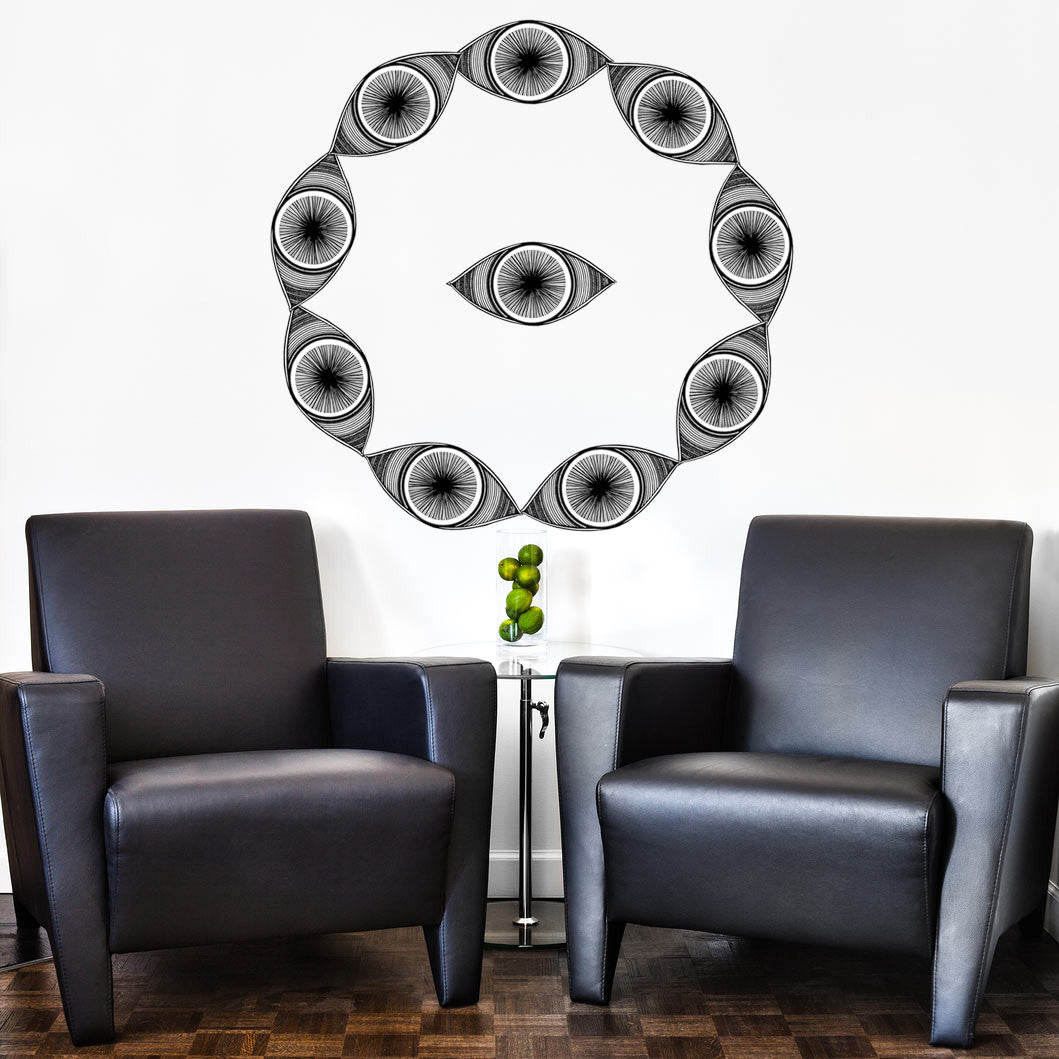 Minds eyes 10 piece fabric wall sticker set conspicuous design eye wall stickers in a circle formation amipublicfo Images