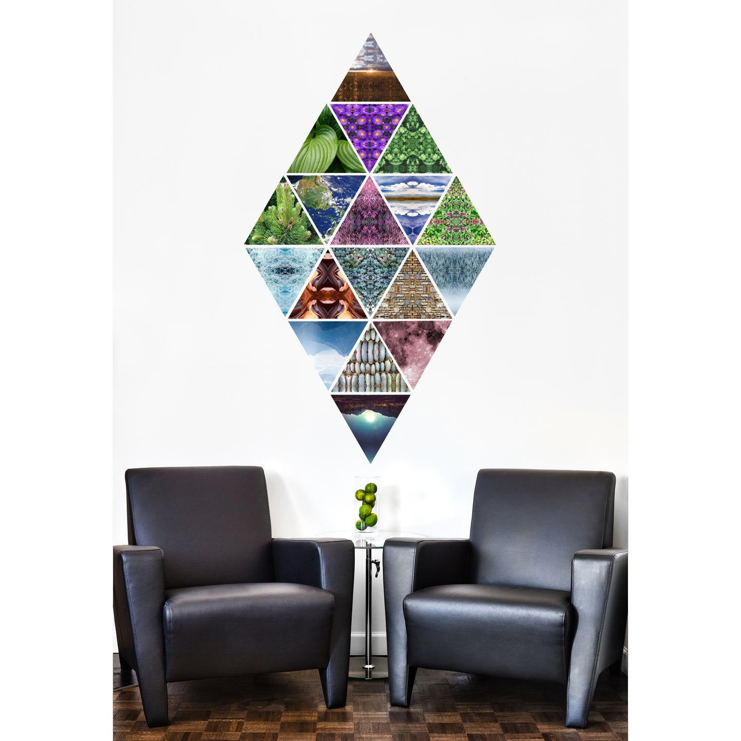 Triangle wall stickers conspicuous design triangle wall sticker diamond mural example amipublicfo Gallery