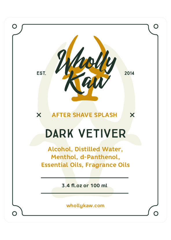 Wholly Kaw Dark Vetiver Aftershave Splash