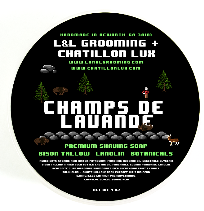L&L Grooming Champs de Lavande Shaving Soap -Premium Bison Tallow Base