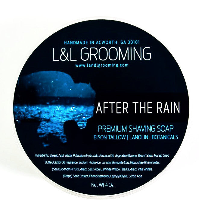 L&L Grooming After the Rain Shaving Soap - Premium Bison Tallow Base