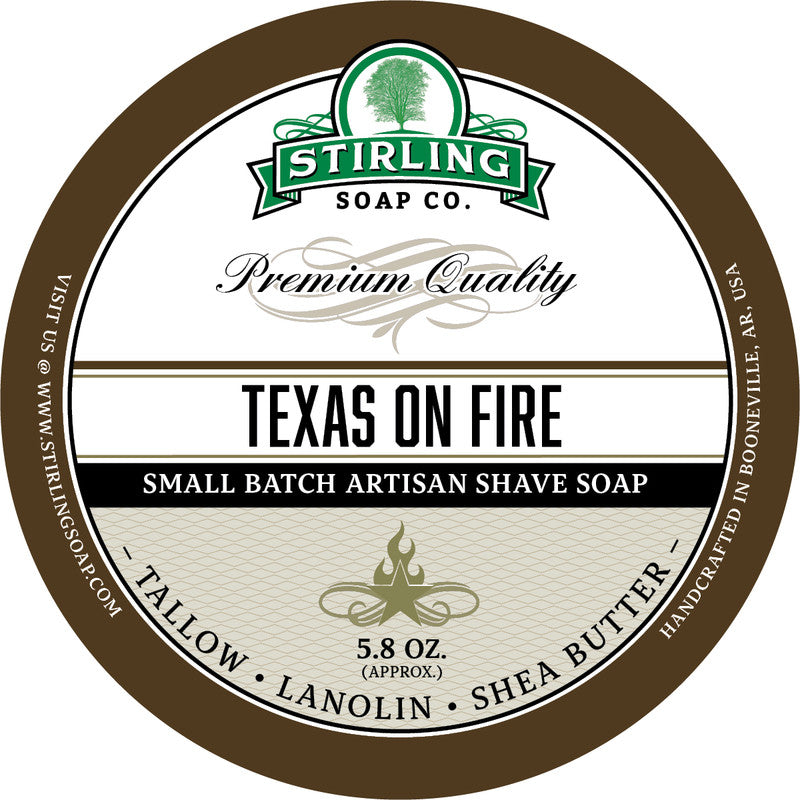 Stirling Soap Co. Texas on Fire Shave Soap