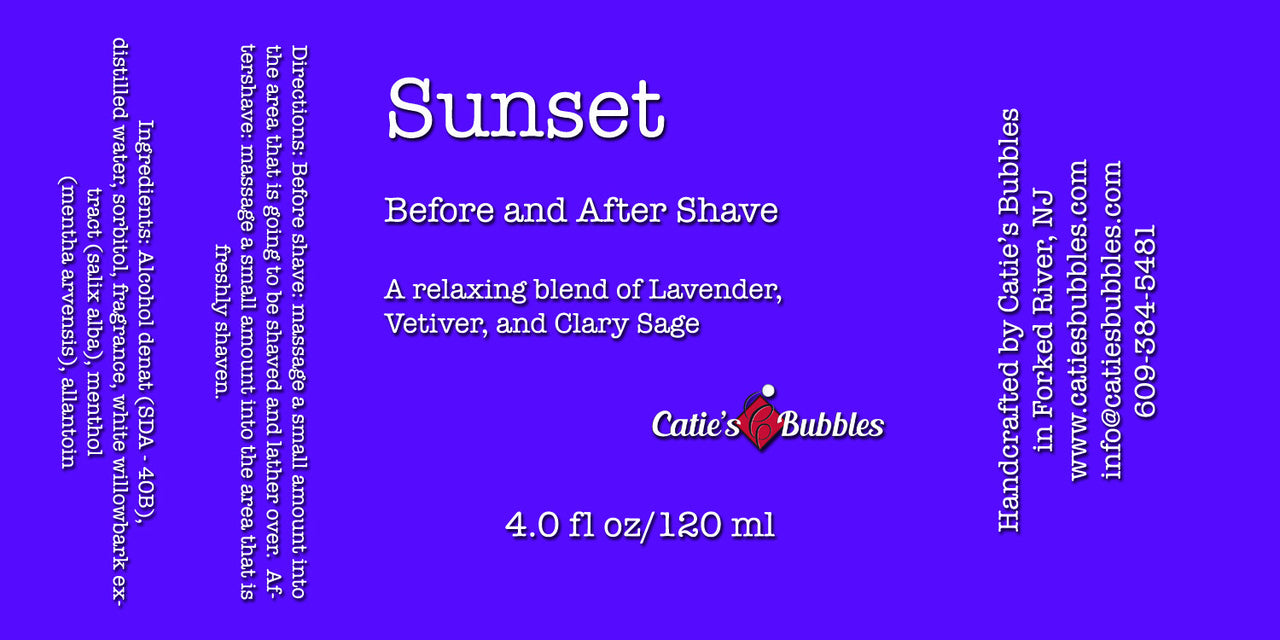 Catie's Bubbles Sunset Before and After Shave