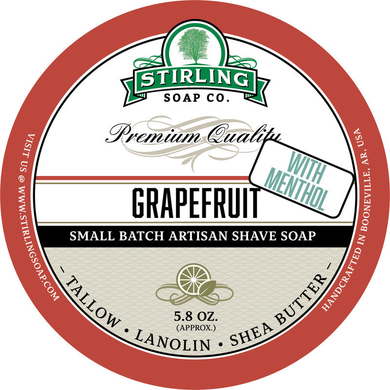 Stirling Soap Co. Grapefruit with Menthol Shave Soap
