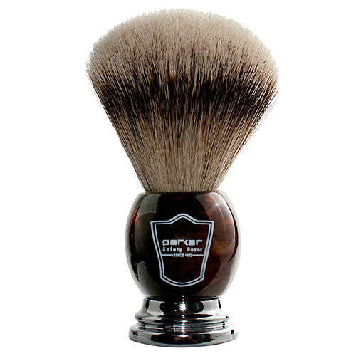 Parker Faux Horn Handle Silvertip Badger Shaving Brush and Stand