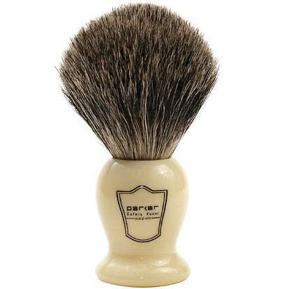 Parker Classic Ivory Handle Pure Badger Shaving Brush and Stand