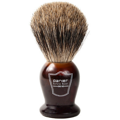 Parker Faux Tortoise Handle Best Badger Shaving Brush and Stand