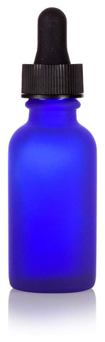 Frosted Bottle with Dropper - Cobalt Blue