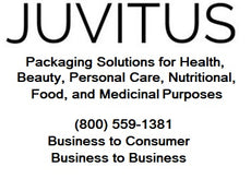JUVITUS logo: packaging solutions for health, beauty, personal care, nutritional, food and medicinal purposes. Telephone 800-559-1381. Business to consumer. Business to business.