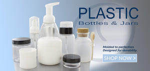 Plastic Collection of Bottles and Jars, including foamers, frosted jars with spoon, low profile jar, white jar and foamer