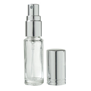Glass Vial Bottle in Clear with Silver Fine Mist Spray - .15 oz / 5 ml