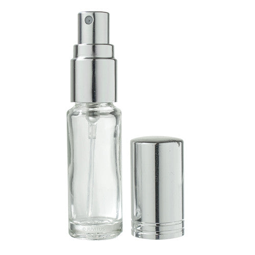 Clear Glass Vial Bottle with Silver Fine Mist Spray - .15 oz / 5 ml