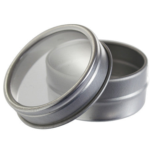 Silver Metal Steel Tin Flat Container with Tight Sealed Clear Lid - 0.25