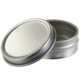 Silver Metal Tin Container with Lid - 0.25 oz - JUVITUS