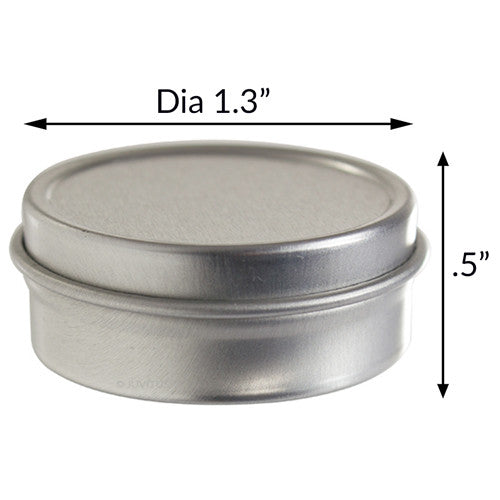 Silver Metal Tin Container with Lid - 0.25 oz