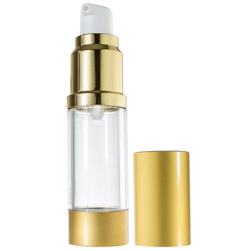 Refillable Airless Pump Bottle in Gold - .5 oz / 15 ml