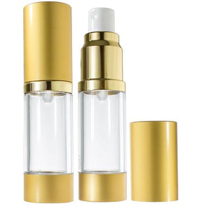 Refillable Airless Spray Bottle in Gold - .5 oz / 15 ml