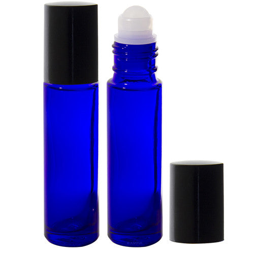 Cobalt Blue Aromatherapy Glass Bottle with Roll On Applicator and Black Cap - 0.33 oz
