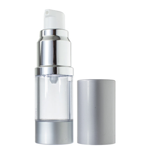 Refillable Airless Pump Bottle in Silver Matte - .34 oz / 10 ml - JUVITUS