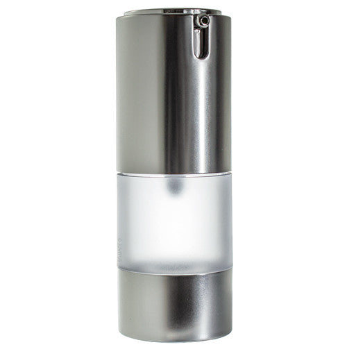 Airless Frosted Silver Pump Bottle Refillable Travel Container - 0.5 fl oz + Travel Bag and Funnel
