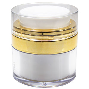 Airless Refillable Jar in White and Gold - .5 oz / 15 ml