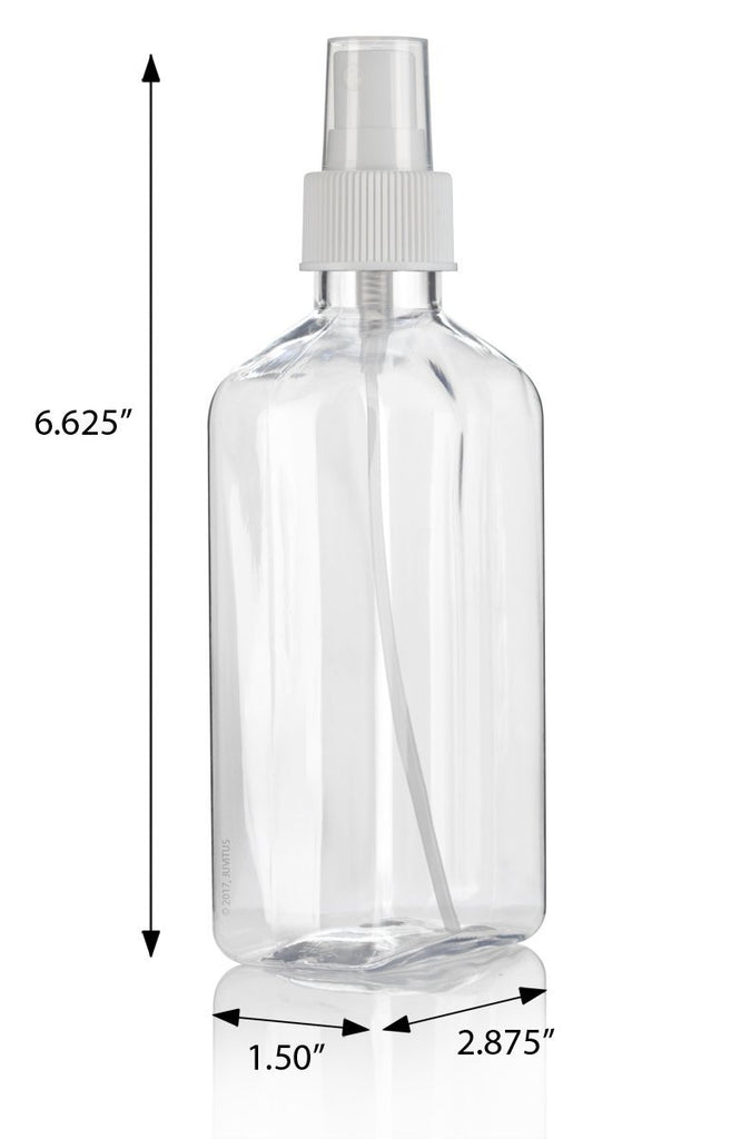 8 oz / 250 ml Clear PET (BPA Free) Plastic Oblong Flask Style Refillable Bottle with White Fine Mist Sprayer (6 pack) + Labels