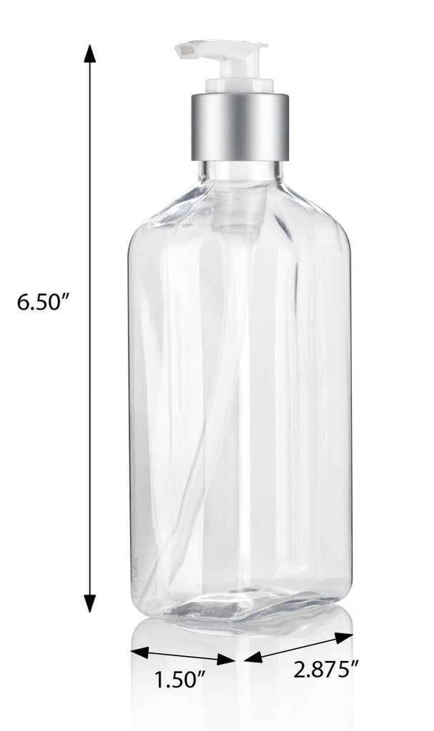8 oz / 250 ml Clear PET (BPA Free) Plastic Oblong Flask Style Refillable Bottle with Silver Lotion Pump (6 pack) + Labels