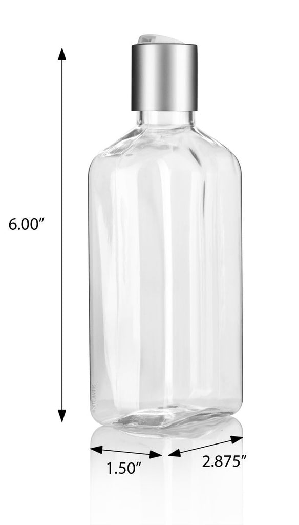 8 oz / 250 ml Clear PET (BPA Free) Plastic Oblong Flask Style Refillable Bottle with Silver Disc Cap Tops (6 pack) + Labels
