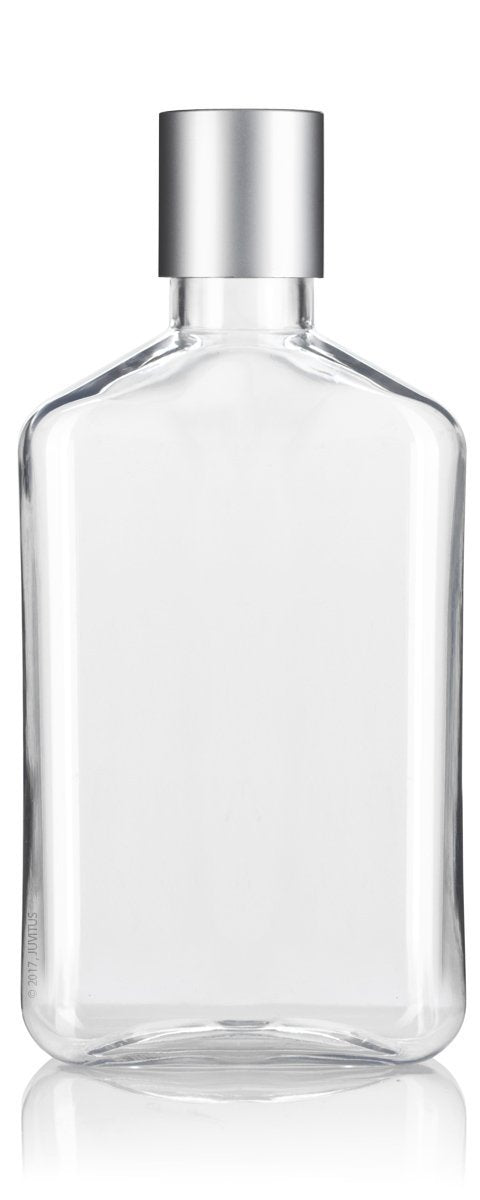 Clear Plastic Flask Disc Cap Bottle with Silver Top - 8 oz / 250 ml