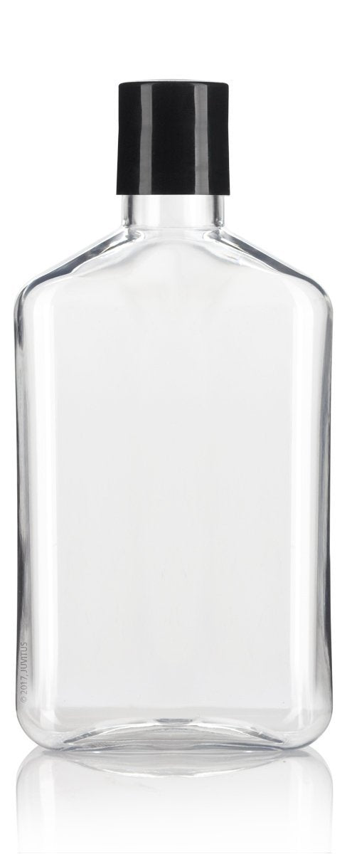 Clear Plastic Flask Disc Cap Bottle with Black Top - 8 oz / 250 ml