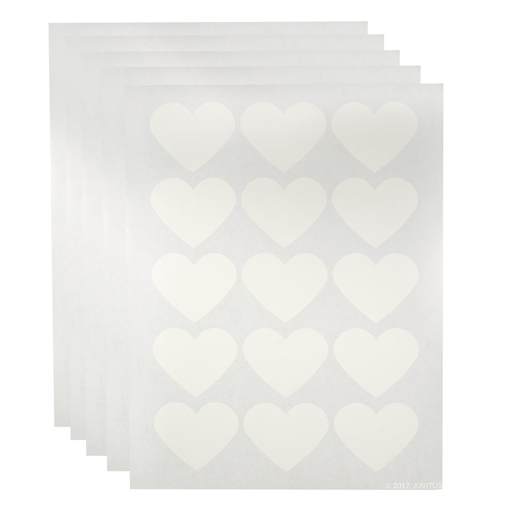"White Heart Waterproof Essential Oil Labels for Bottles and Jars - 2.2754"" x 1.8"" 5 Sheets, 75 Labels"