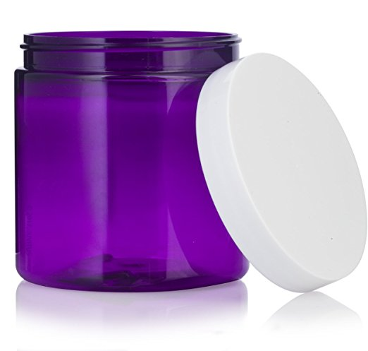 Large 8 oz / 240 ml Purple PET BPA Free Refillable Plastic Jar with White Lid + Labels