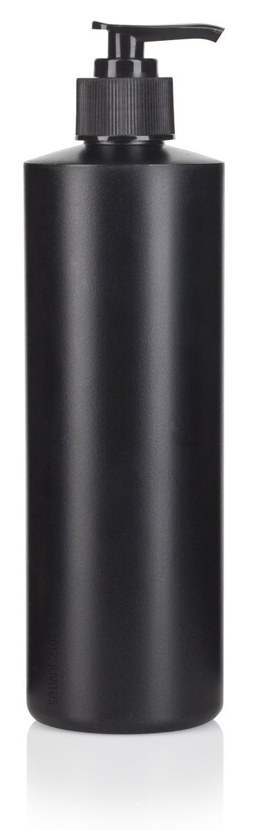 Black Plastic Squeeze Bottle with Black Lotion Pump - 16 oz / 500 ml