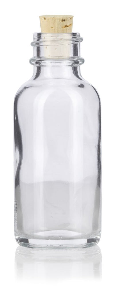 1 oz Clear Glass Boston Round Bottle with Cork Stopper Closure + Funnel and Labels