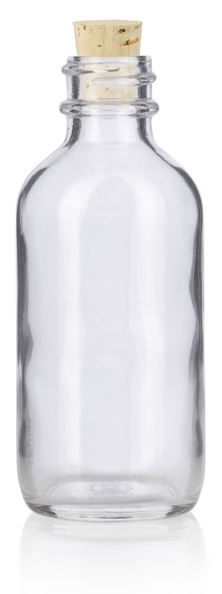 2 oz Clear Glass Boston Round Bottle with Cork Stopper Closure + Funnel and Labels