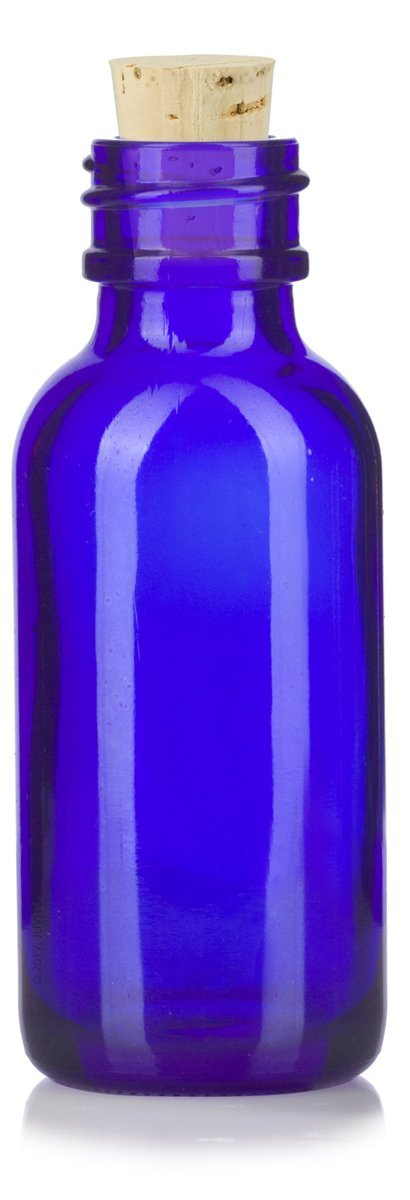 1 oz Cobalt Blue Glass Boston Round Bottle with Cork Stopper Closure + Funnel and Labels